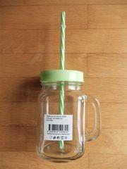 Glaskrug m Deckel Insektenschutz Strohhalm