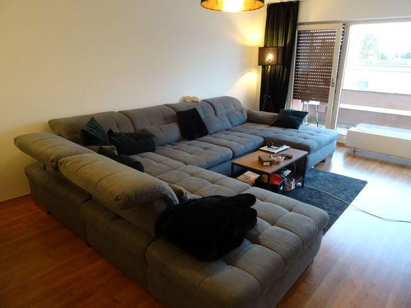 Wohnlandschaft Couch grau XXL Sofa