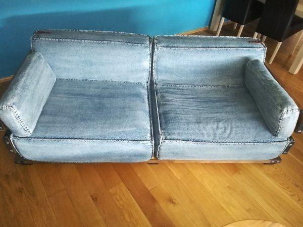 Sofa - recycleter Jeansstoff mit 2
