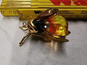 Swarovski Brosche Gross Silber vergoldet