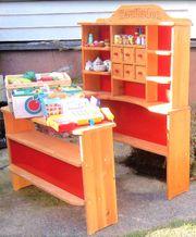 Kaufladen massiv Holz incl Kaufladensortiment
