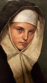 Ölgemälde 1882 Nonne Kloster Frau