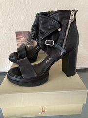 High Heels Leder Sandaletten Gr