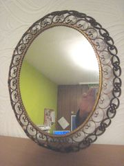 Wandspiegel Oval Antik Jugendstil Messing