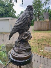 Alter Falke auf Marmorsockel