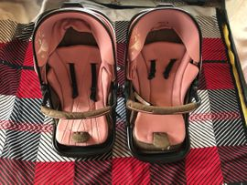 Kinderwagen - Zwillings Kinderwagen rosa 2 in