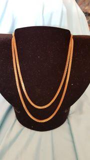 4 hübsche lange Halsketten-Schlangenketten-gold-silber-NEU