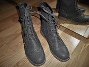 Stiefeletten Stiefel Halbstiefel Schnürboots Grau