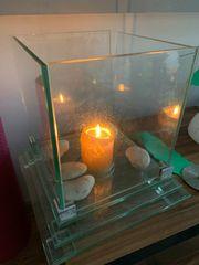 Glas Kamin für Kerzen ca