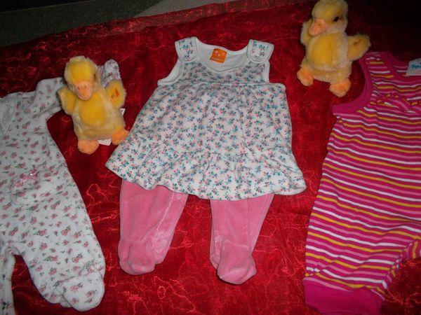 neu 3 süsse babystrampler pusblu