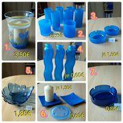 Dekoartikel blau Gläser Aschenbecher Schale