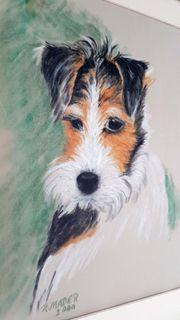 Foxterrier Gemälde Pastell Hund Original