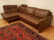Hochwertige Leder-Polstergruppe Couch m Longchair