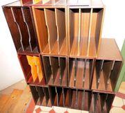 4 Stück Holz- Archivboxen für