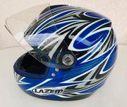 Motorradhelm blau weiß schwarz Laser