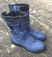 Blaue Stiefel Kunstleder neu