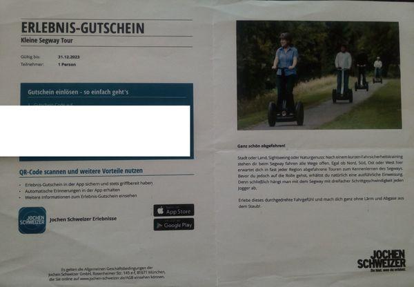 Jochen Schweizer Erlebnis-Gutschein Kleine SegwayTour