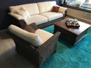 Rattan Sofa 3-Sitzer mit Sessel