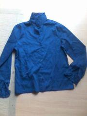 Bluse - Damen - blau - langarm - Stehkragen -
