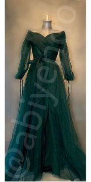 Abendkleid Abiye Tüllkleid in dunkelgrün
