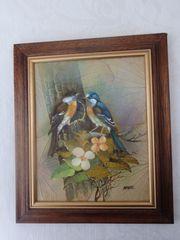 Ölgemälde Vogel-Paar