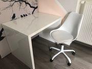 Schreibtisch und Drehstuhl Set Weiß