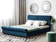 Bett Samtstoff blau Lattenrost 180