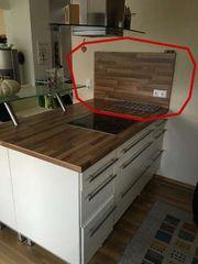 Küche IKEA Faktum Rückwand Holzdekor