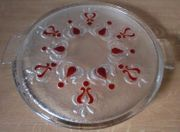 Glas Tortenplatte rote Ornamente Retro