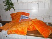 orange set kissen dekoschals wolldecke
