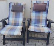 Gartenstühle HochlehnerKlappbar2 Stück mit Auflage