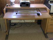 Komplettes Büro Schreibtisch Rollcontainer und